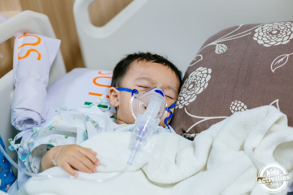 sick baby in hospital