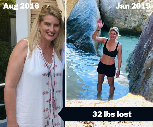 before and after weight loss with happy coffee