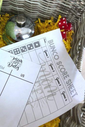 Bunco Party Score Sheets