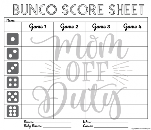Bunco Score Sheet - one per player