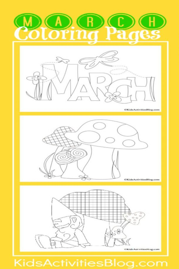 spring coloring pages that include a spring coloring sheet, mushrooms, flowers, and a garden gnome