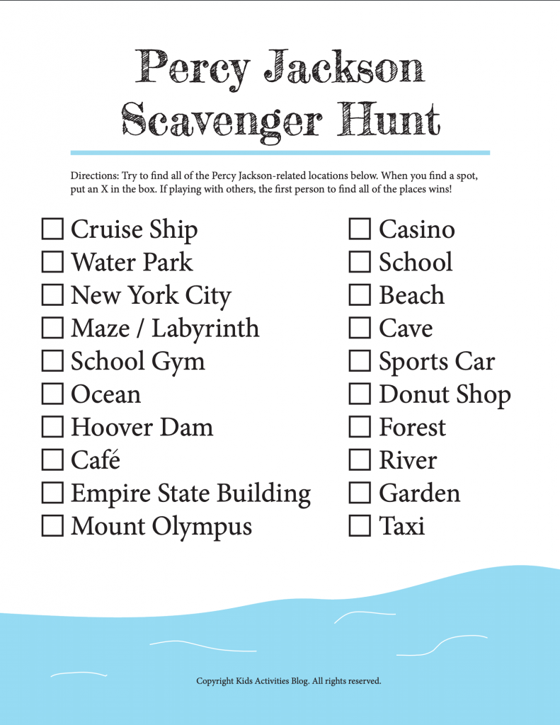 Percy Jackson Scavenger Hunt Print and Play