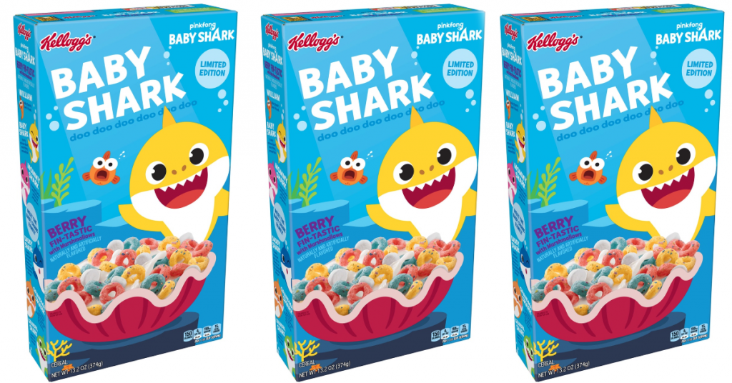 Baby Shark Cereal boxes lined up