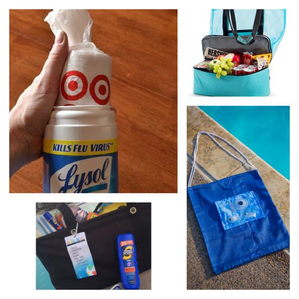 Ideas de bolsa de piscina y bolsa de playa haciendo tu propia bolsa, comprando una bolsa / hielera y haciendo un portabolsas.