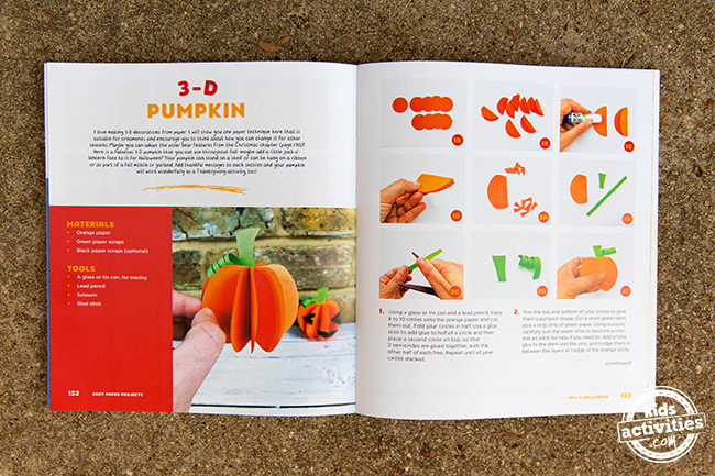 The pages in the book to show you how to make this 3-D pumpkin