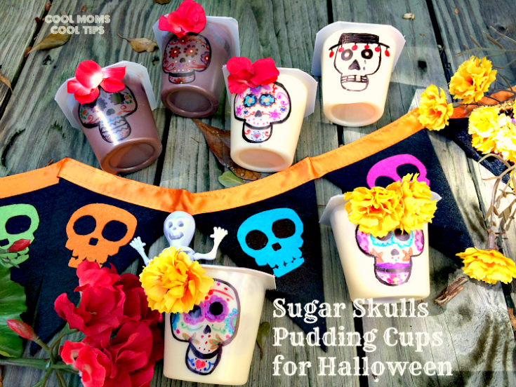 Sugar Skull Pudding Cups for Halloween and Day of the Dead Celebrations