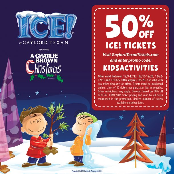Coupon Code for Gaylord Texan ICE for Kids Activities Blog