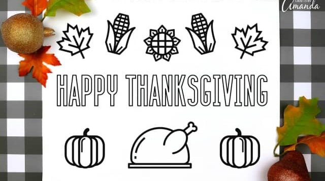 Thanksgiving Placemats Printable - four different coloring printables!