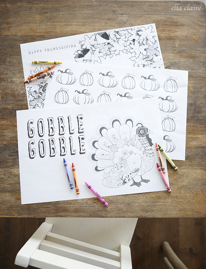 Thanksgiving Coloring Placemats