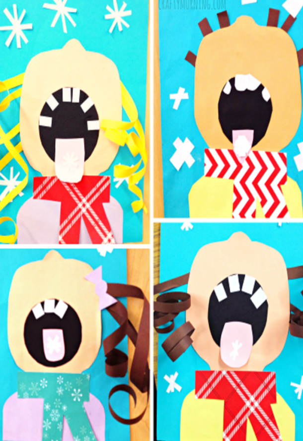 Children catching snowflakes on their tongues with their winter coats on and curly blonde and brown hair