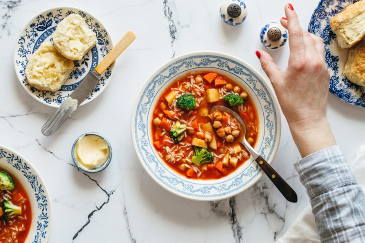 Easy Minestrone Soup With Chickpeas And Rice