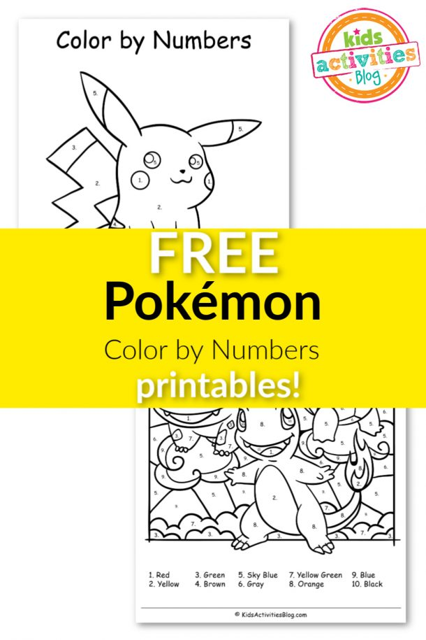 FREE Pokémon Color by Numbers Printables!