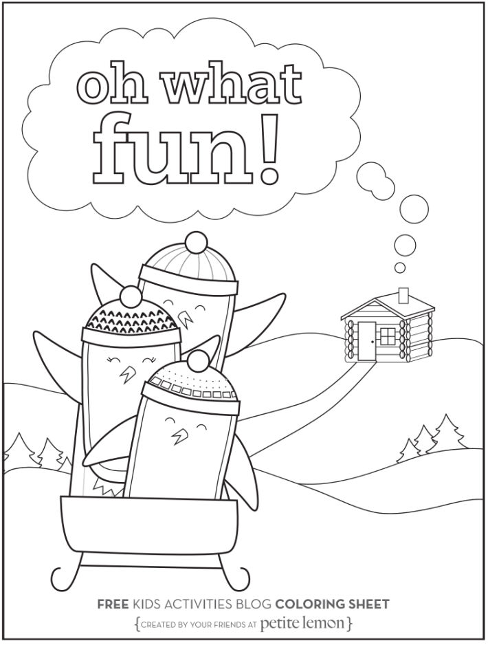 January coloring pages - Oh what fun penguin ride - Kids Activities Blog