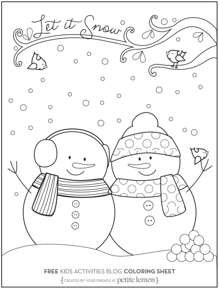 January coloring pages - let it snow snowman and snowwoman - Kids Activities Blog