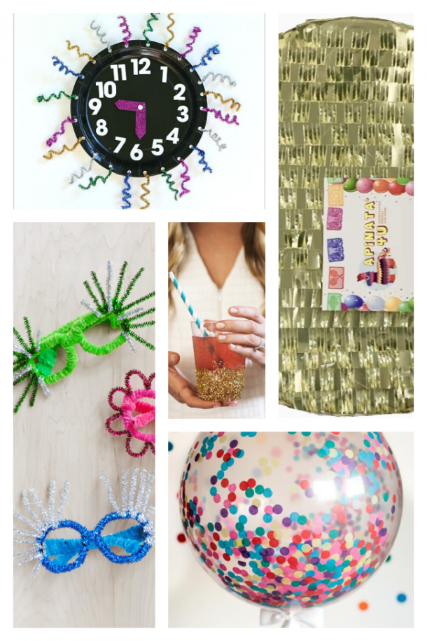 New Year's Eve Decorations with a countdown clock, glasses, confetti balloons, pinata, and glitter cups
