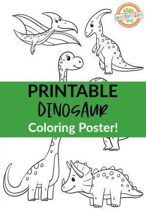 Printable Dinosaur Coloring Poster 300x450