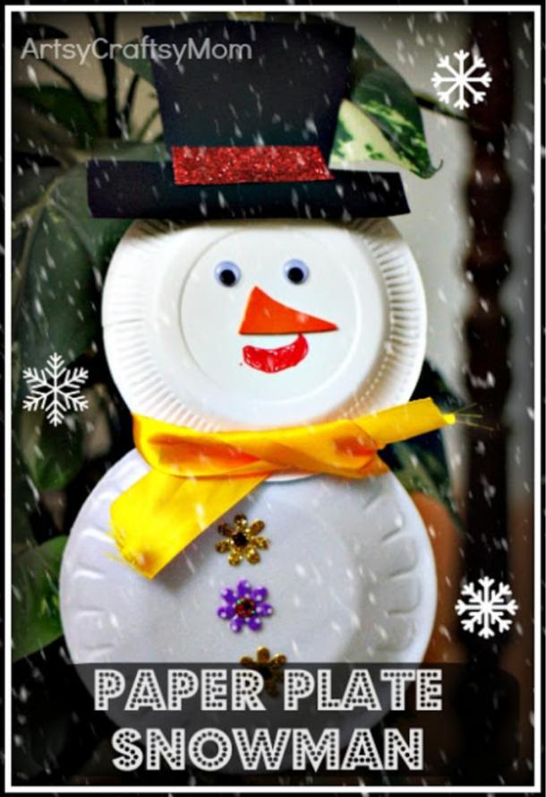 Snow man paper plate craft