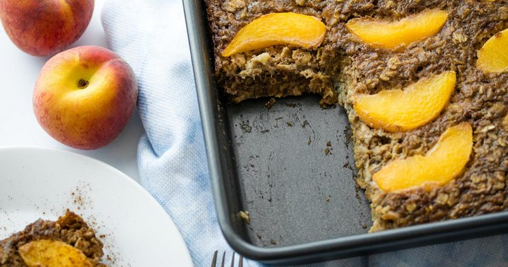 Vegan Peaches and Cream Baked Oatmeal