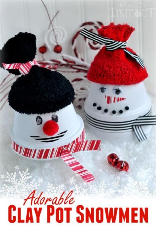 adorable clay pot snowman
