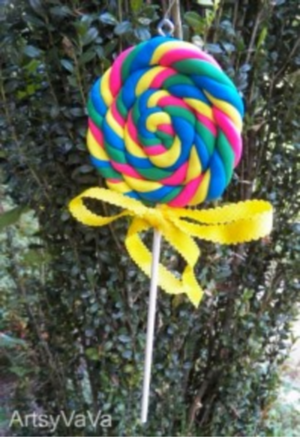 lollipop christmas ornament made of clay