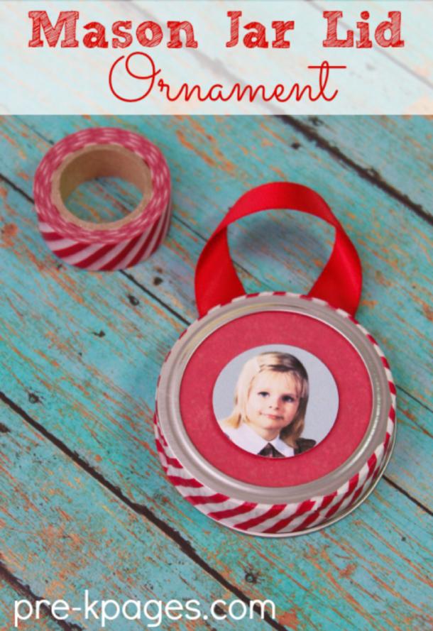 mason jar lid keepsake Christmas ornaments