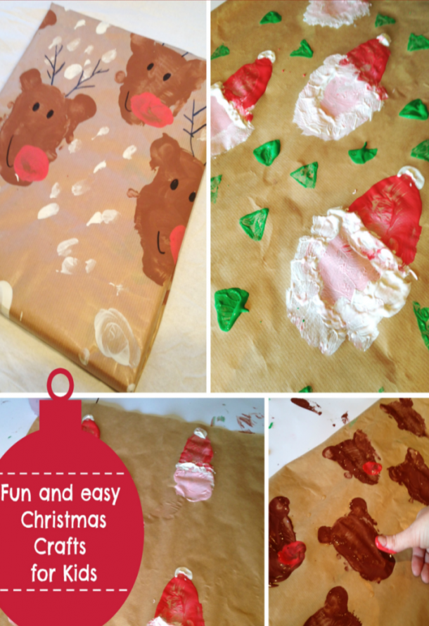 potato print wrapping paper to look like santa and reindeer