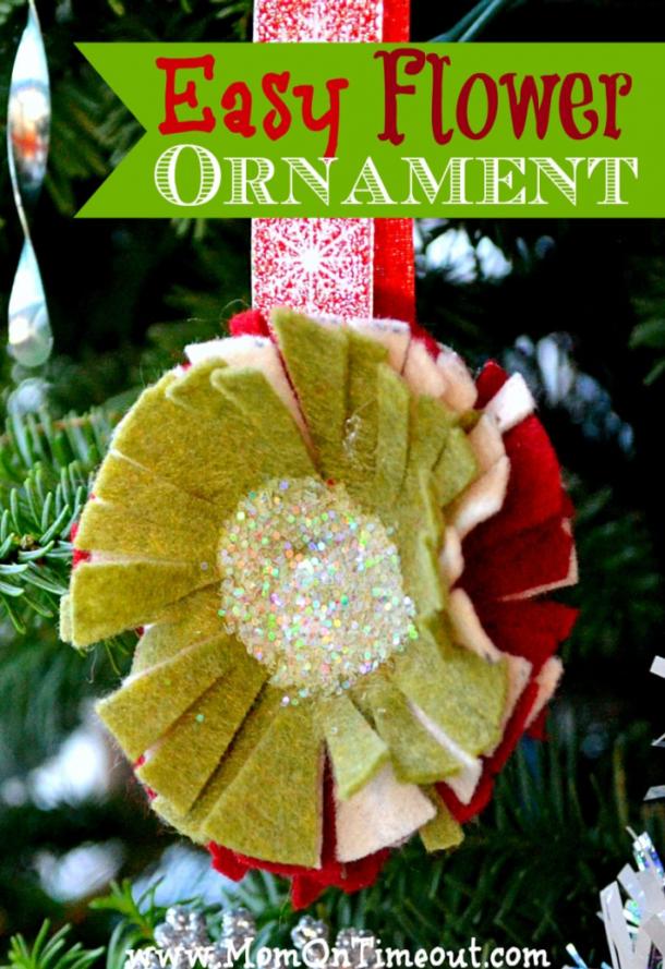 sparkly felt flower ornaments