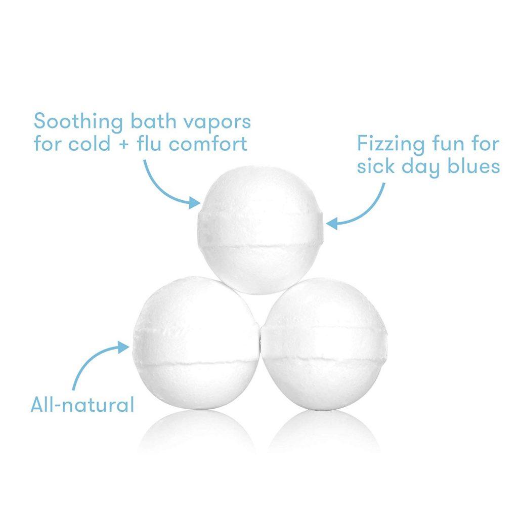 bombes de bain pour bébé - vapeurs de bain apaisantes pour le confort du rhume et de la grippe, plaisir pétillant pour le blues des jours de maladie, entièrement naturels