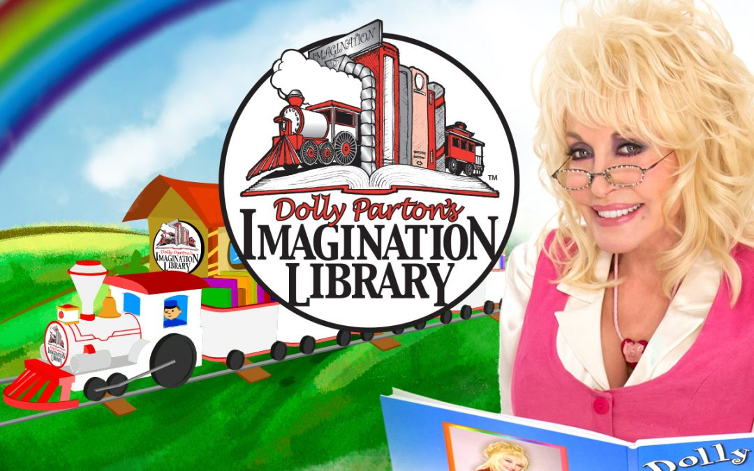 Dolly Parton's Imagination Library sends a free book every month to kids - Dolly Parton shown reading in front of Imagination Library logo with train