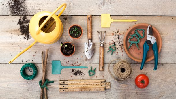 Some of our favorite garden tools like pruners, shovels, rakes, watering pots, and more