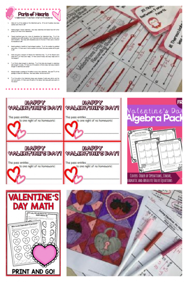 Valentines math for middle schoolers including algrebra, coloring, and fractions