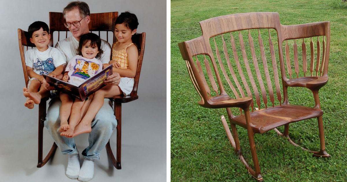 This Dad Built A Three Seat Rocking Chair So He Could Read