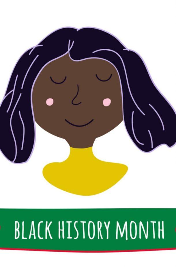 """Mois de l'histoire des Noirs - image d'art de la femme avec les lettres """"Le mois de l'histoire noire"""""""