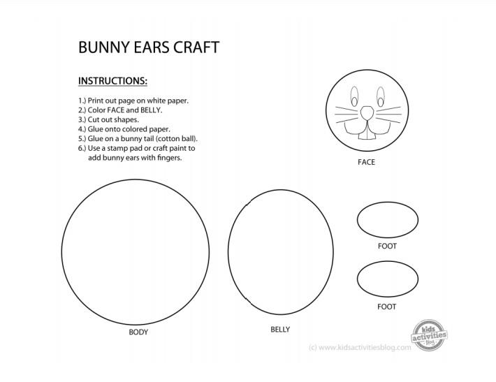 Modèle imprimable d'artisanat d'oreilles de lapin pdf - Blog d'activités pour enfants