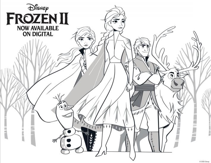 Disney Frozen Coloring Page - Elsa Anna Olaf Sven Kristoff - Kids Activities Blog
