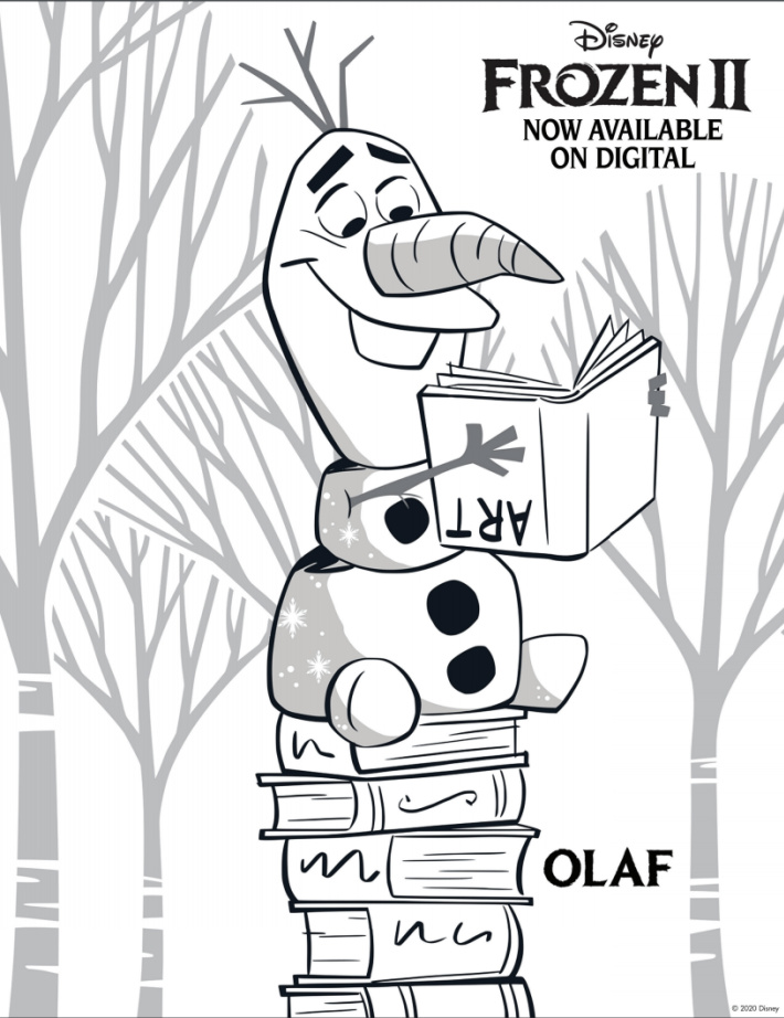 Disney Frozen Coloring Pages - Olaf reading a book