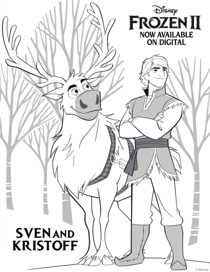 Disney Frozen Coloring Pages - Sven and Kristoff in the woods