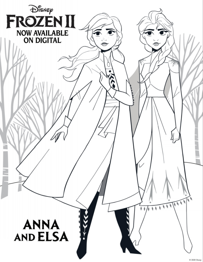 Disney Frozen coloring pages - Anna and Elsa