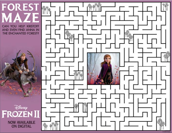 Printable Frozen Maze for Kids from Disney