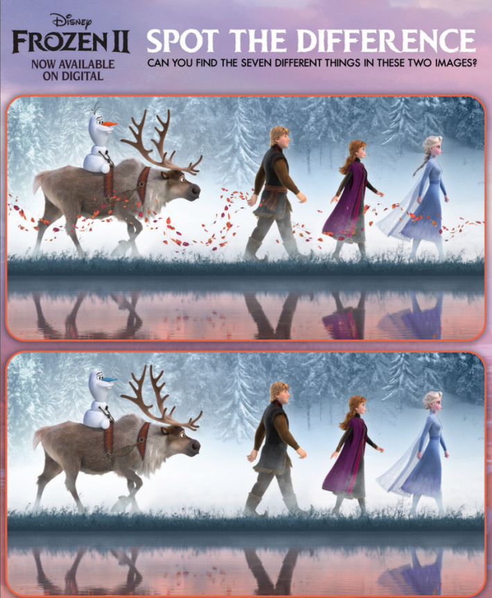 Printable Spot the Difference Worksheet - Frozen from Disney