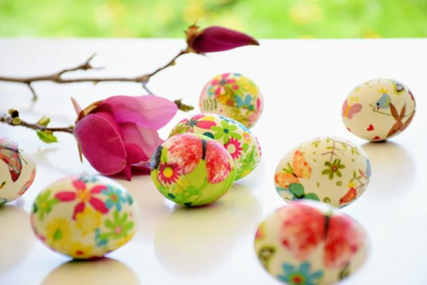 Indoor egg hunts can be full of fun - beautiful eggs sitting on a table indoors