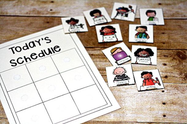 printable homeschool schedule cards
