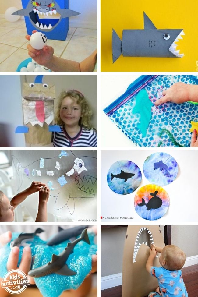 collage of shark craft for preschool - easy crafts for kids