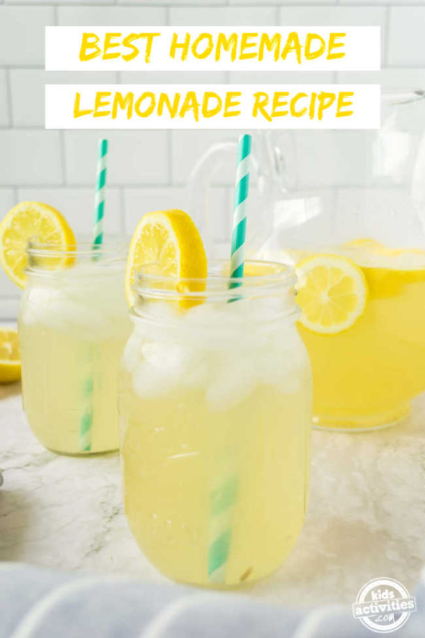 A glass of Homemade lemonade from freshly squeezed lemon juice, sugar and water ready to drink on a hot summer day.