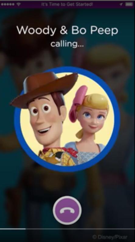 Appel téléphonique du personnage de Disney