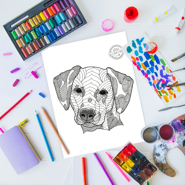 intricate dog zentangle pattern art ready to be colored with mixed art supplies and bright colors