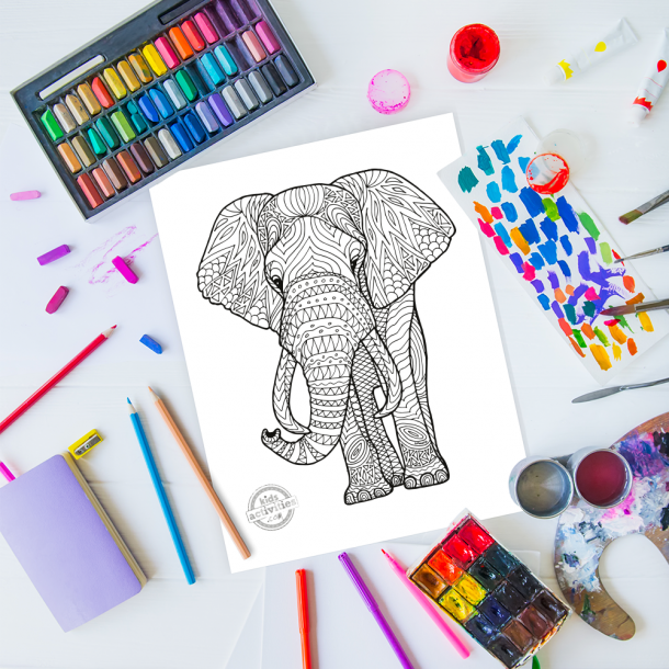 intricate elephant zentangle pattern art ready to be colored with mixed art supplies and bright colors