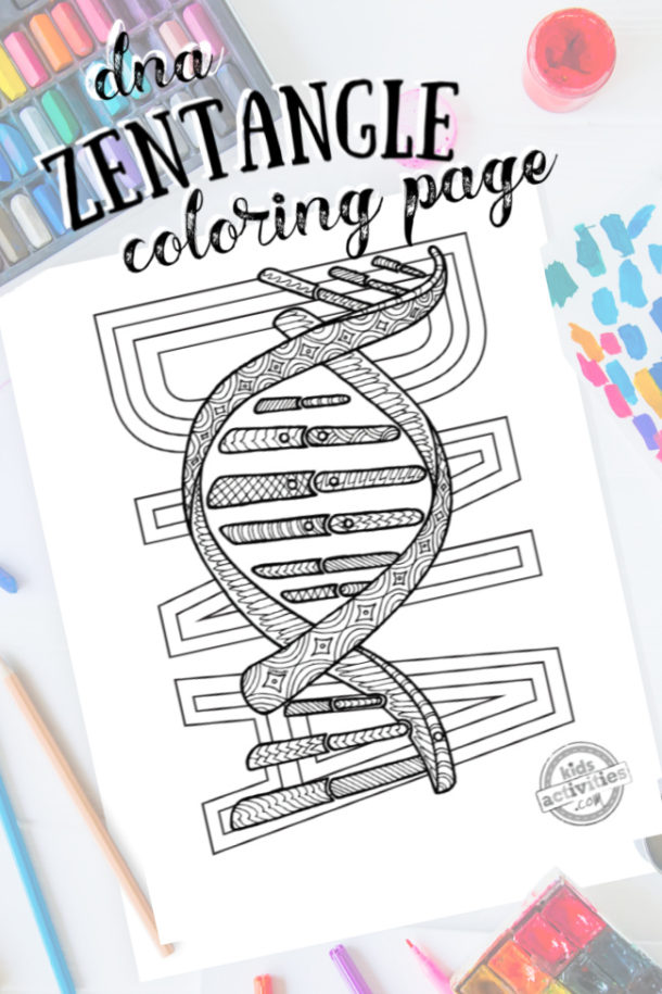intricate DNA zentangle pattern art ready to be colored with mixed art supplies and bright colors