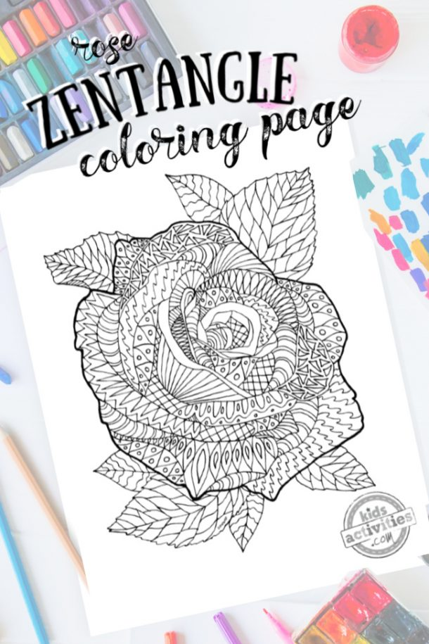 intricate rose zentangle pattern art ready to be colored with mixed art supplies and bright colors
