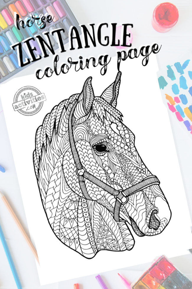intricate horse zentangle pattern art ready to be colored with mixed art supplies and bright colors